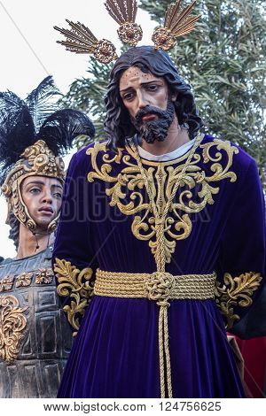 San Fernando, Spain - March 31, 2015: Holy Week in San Fernando, Cadiz, Spain. Our Father Jesus of Sovereign Power in his Arrest.