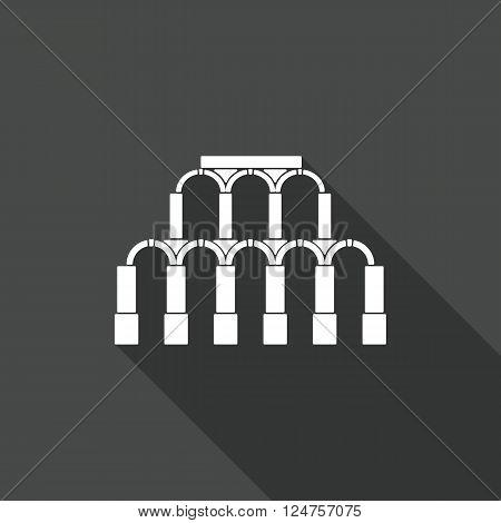 Ancient Roman architecture. Aqueduct Icon. Vector flat illustration