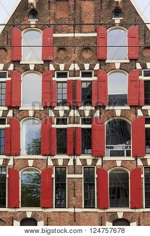 Amsterdam, Netherlands - May 5: This ia a fragment of old house in the area of the city called Yodenburg May 5, 2013 in Amsterdam, Netherlands.