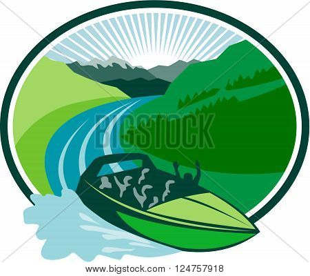 Illustration of a jetboat speeding on river with canyon and mountain in the background set inside oval shape done in retro style.