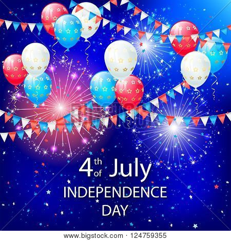 Balloons pennants and fireworks on Independence day background, illustration.
