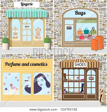 Set of vector detailed design shoes, lingerie, bags, perfume and cosmetics shop. Building facade of stone. Vector illustration eps 10