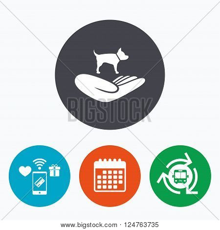 Shelter pets sign icon. Hand holds dog symbol. Animal protection. Mobile payments, calendar and wifi icons. Bus shuttle.