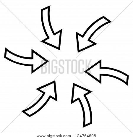 Cyclone Arrows vector icon. Style is contour icon symbol, black color, white background.