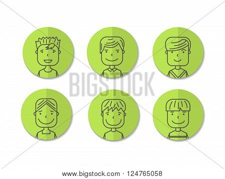 cartoon illustration of a handsome young man with various hair style