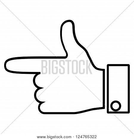 Hand Pointer Left vector icon. Style is thin line icon symbol, black color, white background.