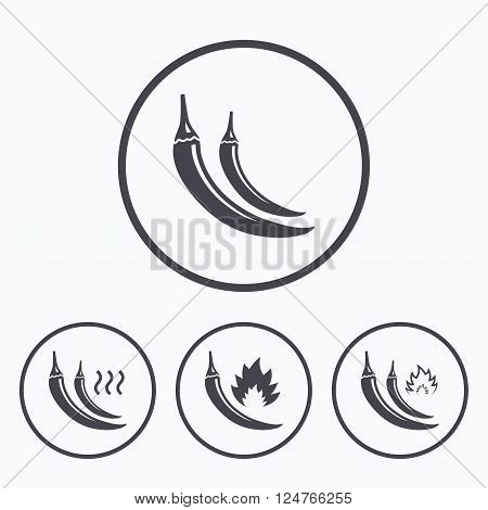 Hot chili pepper icons. Spicy food fire sign symbols. Icons in circles.