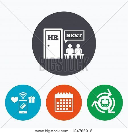 Human resources sign icon. Queue at the HR door symbol. Workforce of business organization. Mobile payments, calendar and wifi icons. Bus shuttle.