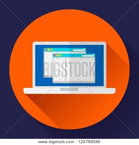 Laptop Icon illustration. Flat design style with long shadow.