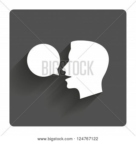Talk or speak icon. Speech bubble symbol. Human talking sign. Gray flat square button with shadow. Modern UI website navigation.