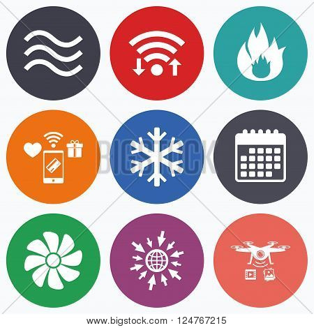 Wifi, mobile payments and drones icons. HVAC icons. Heating, ventilating and air conditioning symbols. Water supply. Climate control technology signs. Calendar symbol.