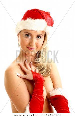 menina nua de santa esconder-se atrás de mãos