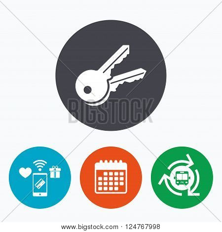 Keys sign icon. Unlock tool symbol. Mobile payments, calendar and wifi icons. Bus shuttle.
