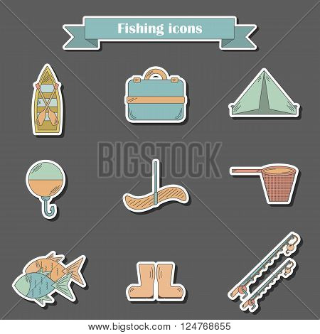Set of simple line flat fishing icons