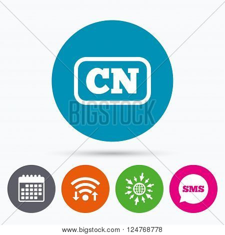 Wifi, Sms and calendar icons. Chinese language sign icon. CN China translation symbol with frame. Go to web globe.