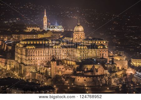 Buda Castle or Royal Palace in Budapest Hungary Illuminated at Night