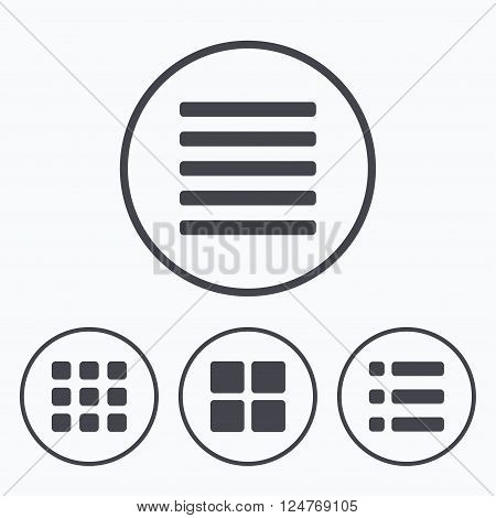 List menu icons. Content view options symbols. Thumbnails grid or Gallery view. Icons in circles.
