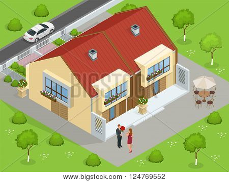Real estate. Big custom made luxury house with nicely trimmed and landscaped front yard in the suburbs. Flat 3d vector isometric illustration.