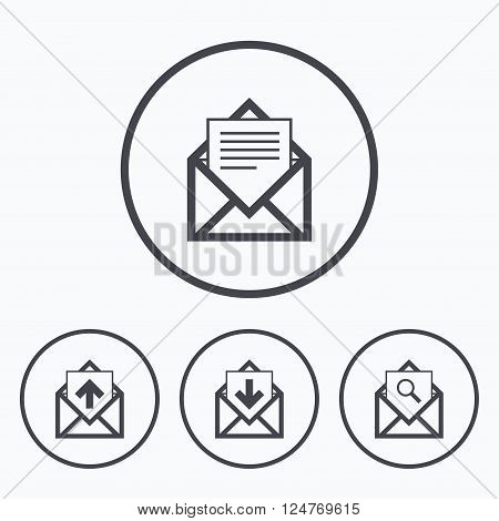Mail envelope icons. Find message document symbol. Post office letter signs. Inbox and outbox message icons. Icons in circles.