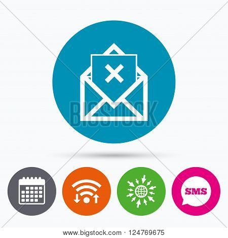 Wifi, Sms and calendar icons. Mail delete icon. Envelope symbol. Message sign. Mail navigation button. Go to web globe.