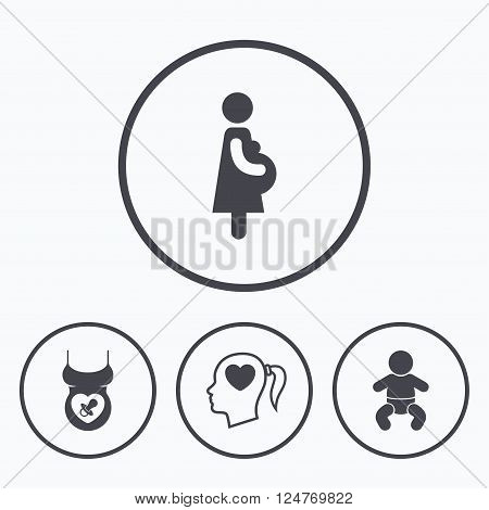 Maternity icons. Baby infant, pregnancy and dummy signs. Child pacifier symbols. Head with heart. Icons in circles.