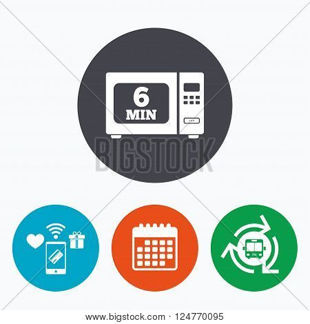 Cook in microwave oven sign icon. Heat 6 minutes. Kitchen electric stove symbol. Mobile payments, calendar and wifi icons. Bus shuttle.