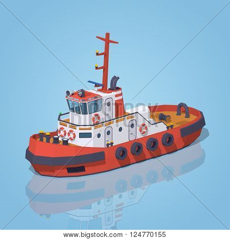 Red and white tugboat against the blue background. 3D lowpoly isometric vector illustration