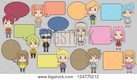 Group of cartoon children talking. Manga anime teenagers.