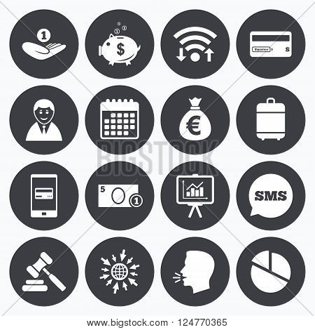 Wifi, calendar and mobile payments. Money, cash and finance icons. Piggy bank, credit card and auction signs. Presentation, pie chart and businessman symbols. Sms speech bubble, go to web symbols.