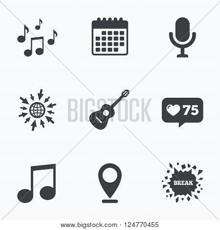 Calendar, like counter and go to web icons. Music icons. Microphone karaoke symbol. Music notes and acoustic guitar signs. Location pointer.