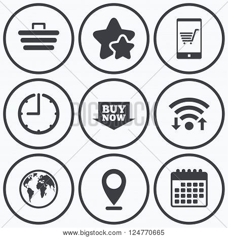 Clock, wifi and stars icons. Online shopping icons. Smartphone, shopping cart, buy now arrow and internet signs. WWW globe symbol. Calendar symbol.