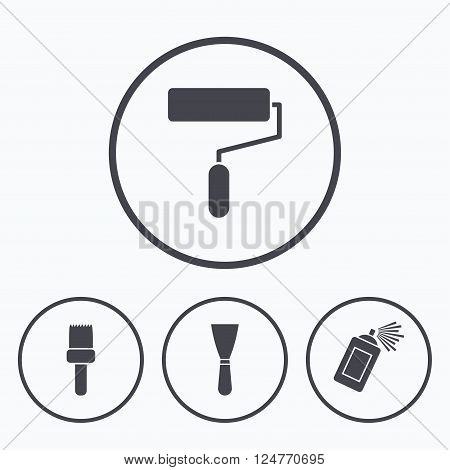 Paint roller, brush icons. Spray can and Spatula signs. Wall repair tool and painting symbol. Icons in circles.