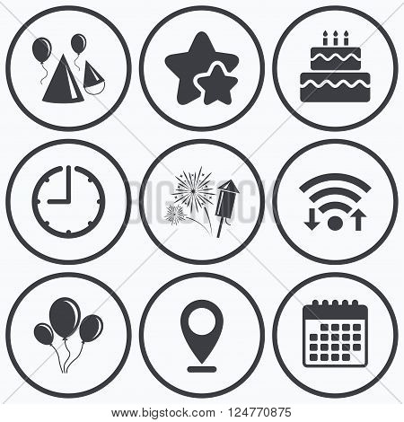 Clock, wifi and stars icons. Birthday party icons. Cake, balloon, hat and muffin signs. Fireworks with rocket symbol. Double decker with candle. Calendar symbol.