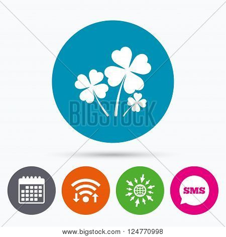 Wifi, Sms and calendar icons. Clovers with four leaves sign icon. Saint Patrick symbol. Go to web globe.