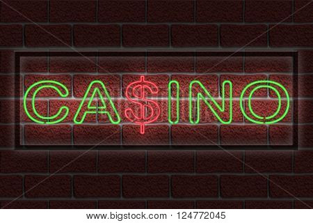 Illustration of a neon casino sign against a dark brick wall