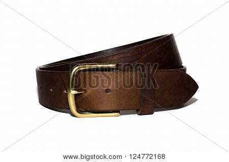 Brown leather belt with brass buckle handmade.