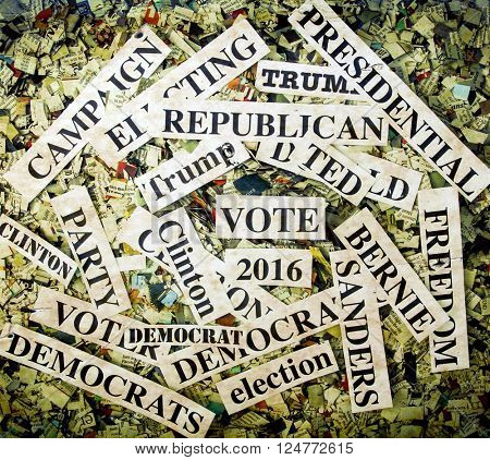 political words on Newspaper confetti