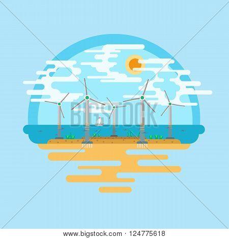 Vector flat illustration. Vector flat landscape wind turbines in the sea. Alternative energy source.