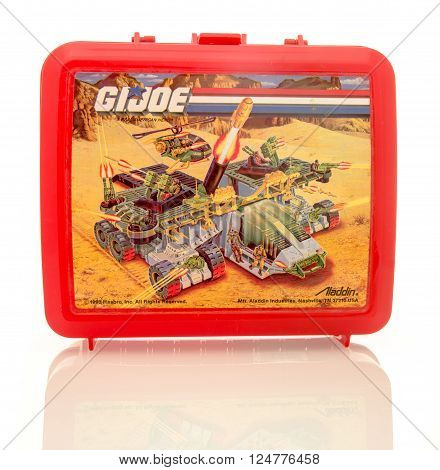 Winneconne WI - 6 April 2016: Plastic lunch box featuring G.I. Joe on an isolated background.