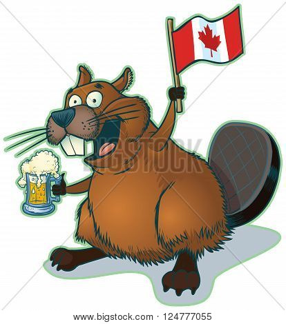 Vector cartoon clip art illustration of a cute happy cartoon beaver holding a mug of beer and a canadian Flag. The beer is on a separate layer.