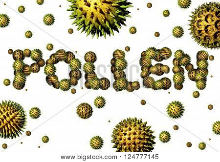 Pollen grains concept as a group of microscopic organic pollination particles shaped as text as flowering plants flying in the air as a health care 3D illustration symbol.