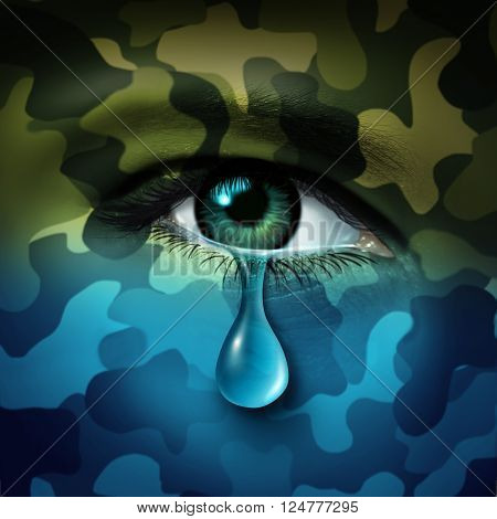 Military depression mental health concept and casualty of war symbol as a crying human eye tear with green camouflage transforming into a blue mood as a metaphor for veteran healthcare or combatant issues in a 3D illustration style.
