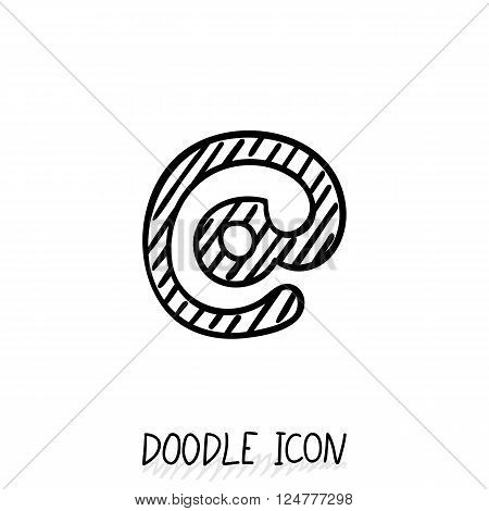 Vector Doodle E-Mail Symbol. Hand Drawn Design Element. Email dog pyctogram.