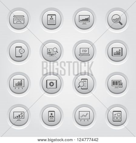 Grey Button Design Icon Set. Business Concept