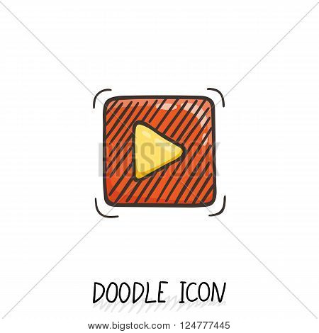 Doodle play button web icon. Vector illustration. Music, sound, video pictogram.