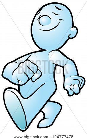 Vector cartoon clip art or illustration of a generic cartoon person walking confidently forward.