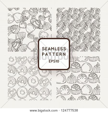 Set of Vector Candy and Muffins Seamless Patterns. Sweet Party Texture. Buns, donuts and jelly beans.