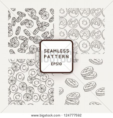Set of Vector Candy, Bows and Muffins Seamless Patterns. Sweet Party Texture. Buns, cooky, sweet icing and jelly beans.