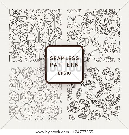 Set of Vector Candy, Bows and Donuts Seamless Patterns. Sweet Party Texture. Buns and jelly beans.