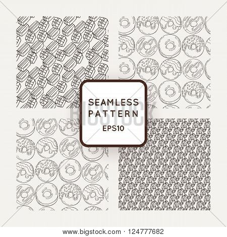 Set of Vector Candy and Donuts Seamless Patterns. Sweet Party Texture. Buns and donuts.
